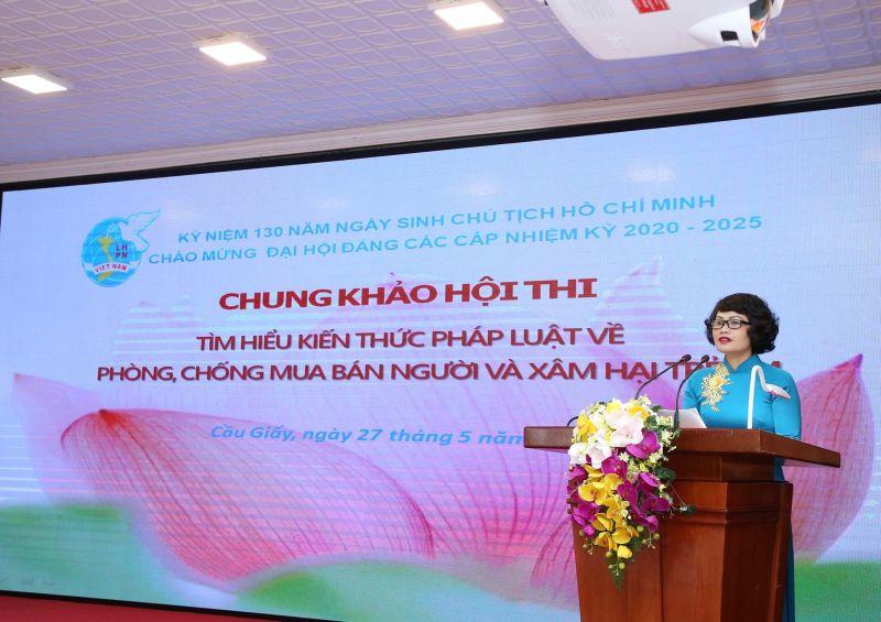 Đ/c Đỗ Thị Minh Lam phát biểu khai mạc Hội thi Tìm hiểu kiến thức pháp luật về phòng chống mua bán người và xâm hại trẻ em
