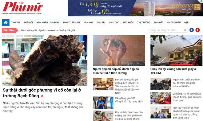 Trang web của báo điện tử báo Phụ nữ TP.HCM đã bị Cục Báo chí ra quyết định đình bản trong thời gian 1 tháng do những sai phạm đưa thông tin sai sự thật.