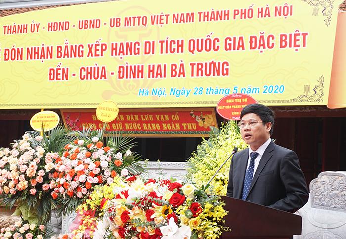 Phó Chủ tịch UBND TP Hà Nội Ngô Văn Quý phát biểu tại buổi lễ
