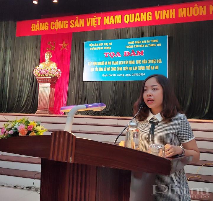 Đồng chí Nguyễn Hiền Phương- Phó Chủ tịch Hội LHPN quận Hai Bà Trưng phát biểu khai mạc