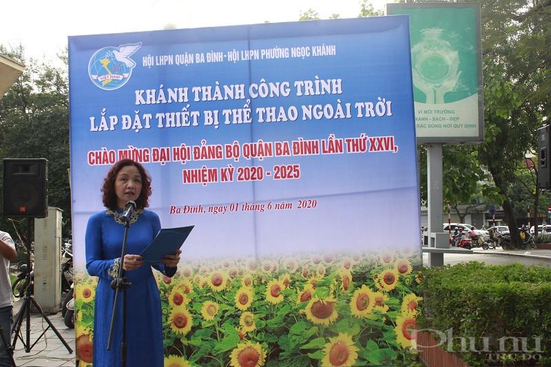 Đồng chí Đinh Thị Phương Liên- Chủ tịch Hội LHPN Ba Đình phát biểu tại lễ khánh thành