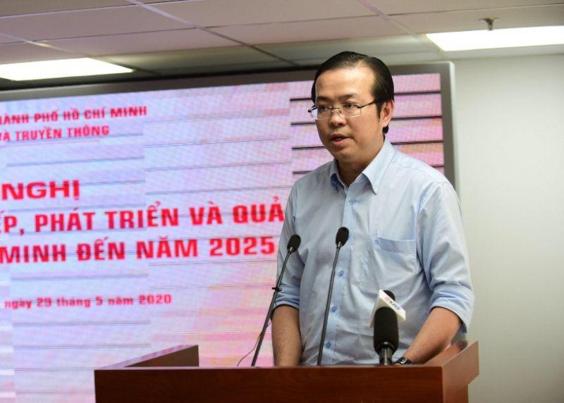 Ông Lê Văn Minh, Phó Ban Tuyên giáo Thành ủy TPHCM phát biểu tại cuộc họp - Ảnh: Trung tâm Báo chí TPHCM