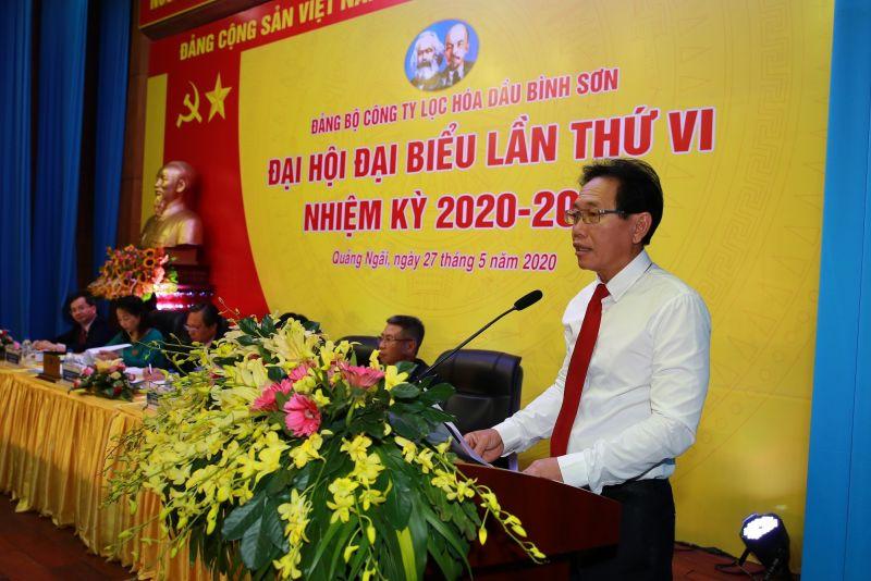 Đồng chí Nguyễn Vũ Trường Sơn - Ủy viên Ban Thường vụ Đảng ủy, Thành viên HĐTV PVN ghi nhận những đóng góp to lớn của Đảng bộ BSR trong 5 năm qua.