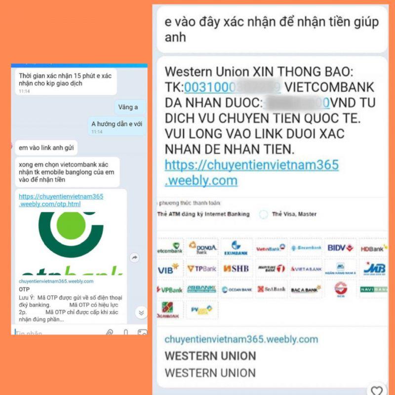 Đối tượng lừa đảo dẫn dụ bị hại đăng nhập vào đường link website giả mạo. Ảnh: bocongan.gov.vn