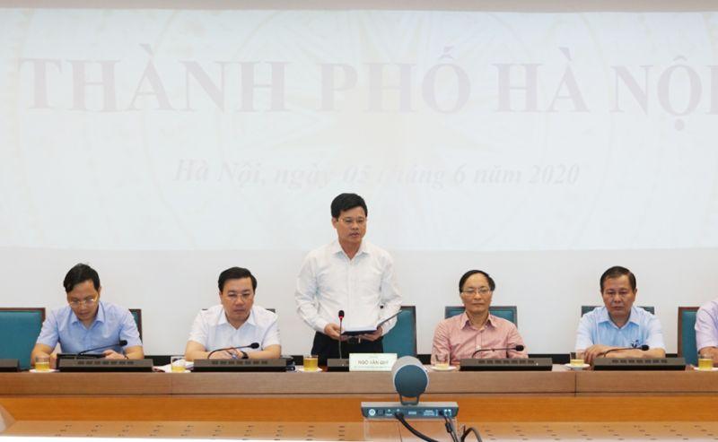 Phó Chủ tịch UBND thành phố Hà Nội Ngô Văn Quý phát biểu tại hội nghị.