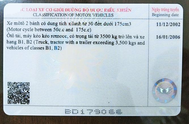 Giấy phép lái xe có in mã quét QR