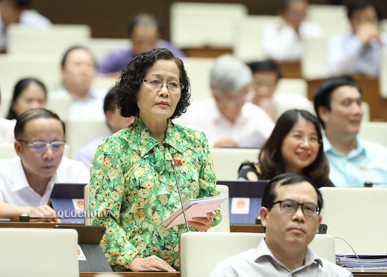 Đại biểu quốc hội Nguyễn Thị Quốc Khánh thảo luận, đóng góp ý kiến tại phiên họp quốc hội.