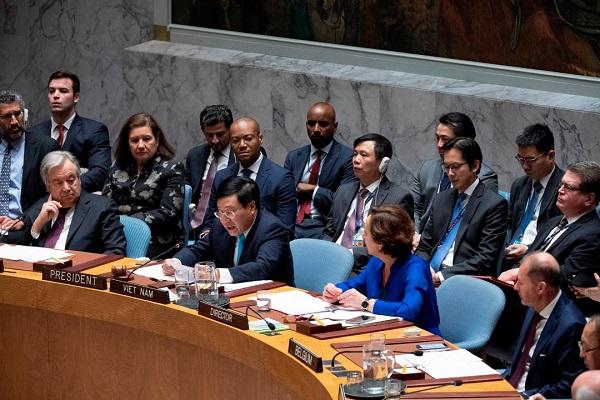Phó Thủ tướng, Bộ trưởng Ngoại giao Phạm Bình Minh chủ trì phiên thảo luận mở cấp Bộ trưởng của HĐBA LHQ tại New York, Mỹ, ngày 9/1/2020