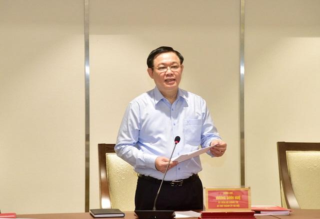 Ủy viên Bộ Chính trị, Bí thư Thành ủy Hà Nội Vương Đình Huệ phát biểu khai mạc hội nghị.
