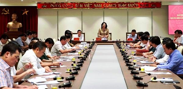 Đồng chí Ngô Thị Thanh Hằng - Phó Bí thư Thường trực Thành ủy Hà Nội phát biểu kết luận hội nghị