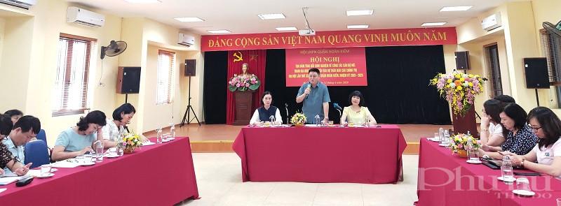 Đồng chí Bùi Hoàng Phan- Phó Bí thư Thường trực quận ủy Hoàn Kiếm  phát biểu tại hội nghị