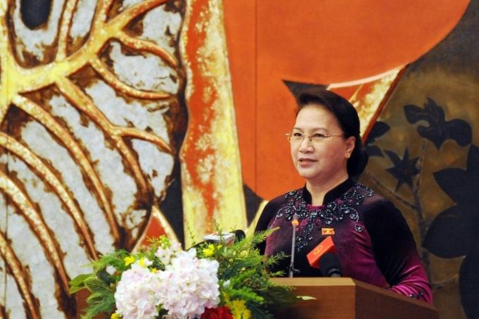 Chủ tịch Quốc hội Nguyễn Thị Kim Ngân phát biểu tại buổi gặp mặt .