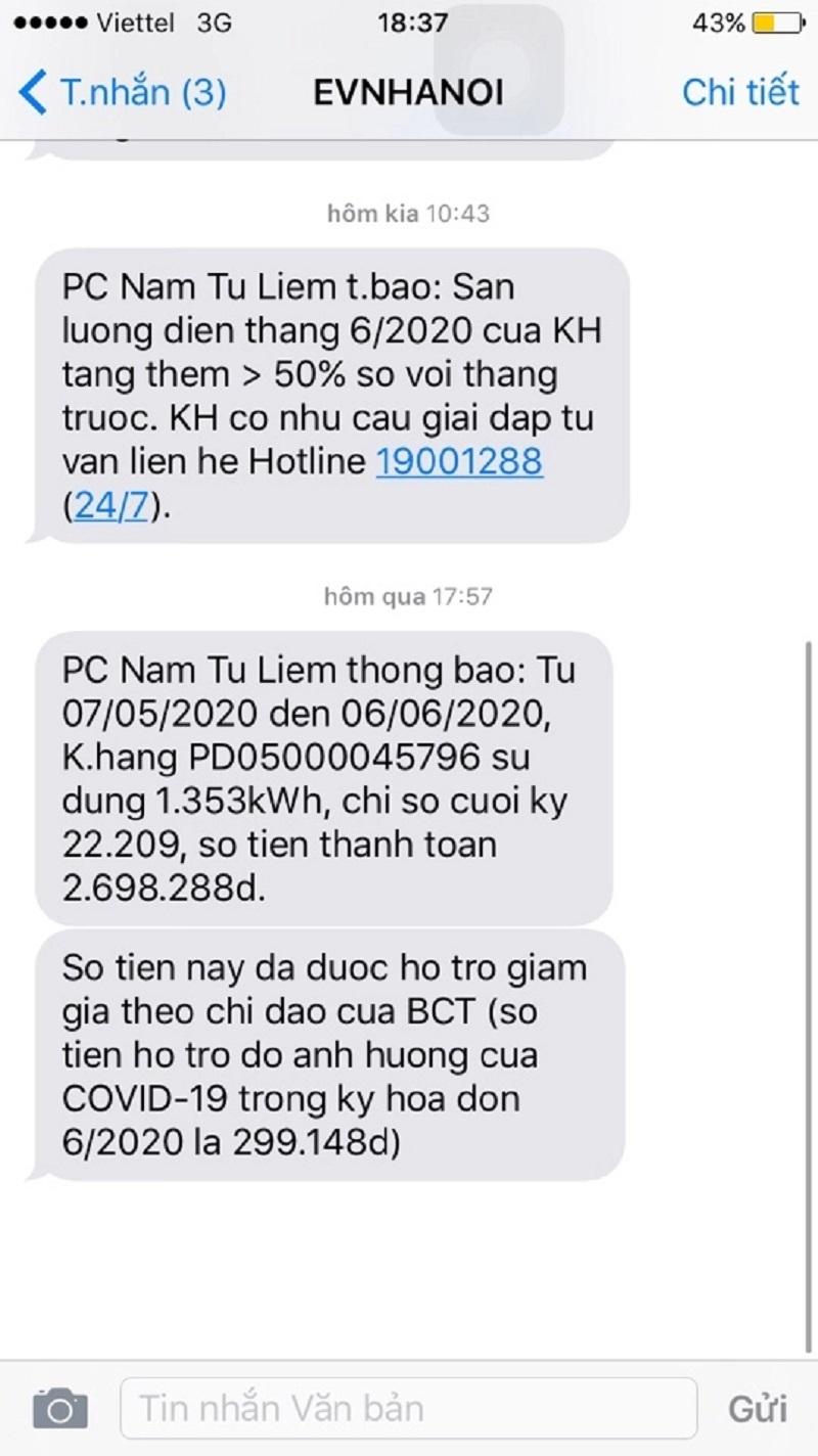 Tin nhắn EVNHANOI gửi đến chị Nguyễn Thị Hoa thông báo sản lượng điện tiêu dùng tăng và số tiền điện được giảm theo gói hỗ trợ Covid-19