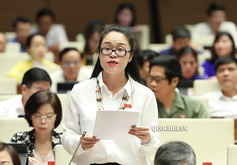 Đại biểu Dương Minh Ánh - Đoàn ĐBQH Tp. Hà Nội phát biểu tại phiên họp.