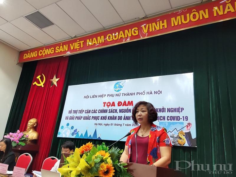 Đồng chí Lê Thị Thiên Hương- Phó Chủ tịch Hội LHPN Hà Nội phát biểu tại hội nghị