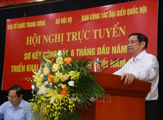 Đồng chí Phạm Minh Chính, Uỷ viên Bộ Chính trị, Bí thư Trung ương Đảng, Trưởng Ban Tổ chức Trung ương phát biểu chỉ đạo Hội nghị - Ảnh: Diễm Quỳnh/ TTXVN