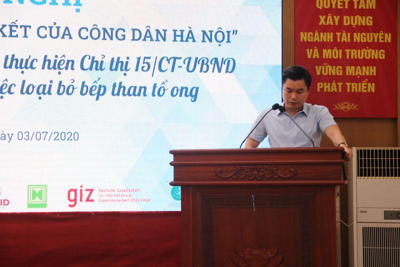 Ông Lê Tuấn Định, Phó Giám đốc Sở TNMT phát biểu tại buổi lễ.