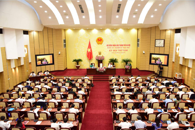 Một phiên họp của HĐND thành phố Hà Nội khóa XV. Ảnh: Viết Thành