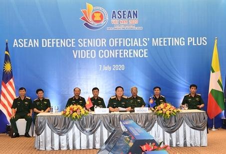 Hội nghị trực tuyến Quan chức Quốc phòng cấp cao ASEAN mở rộng (ADSOM+). Ảnh: VGP/Nhật Nam