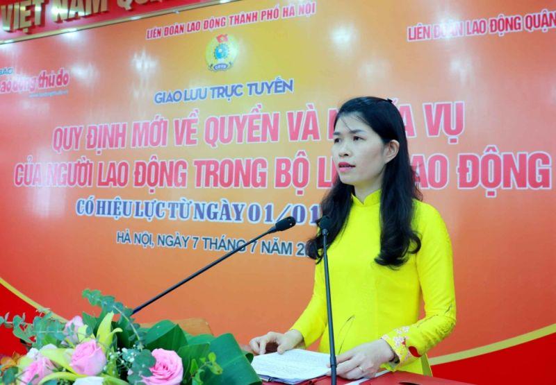 Theo bà Lê Thị Kim Điệp - Chủ tịch Liên đoàn Lao động quận Nam Từ Liêm, buổi giao lưu trực tuyến là dịp để lãnh đạo các cơ quan, đơn vị, doanh nghiệp, công nhân viên chức lao động quận Nam Từ Liêm được giao lưu, trao đổi một cách dân chủ, cởi mở và thẳng thắn