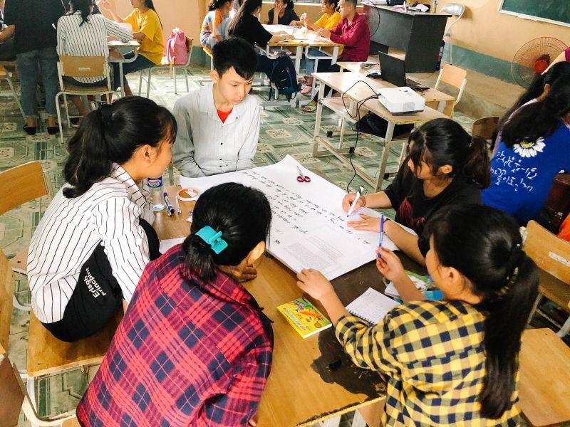 Sự tiến bộ về kĩ năng làm việc nhóm của các em học sinh thể hiện thông qua mỗi chặng của dự án.