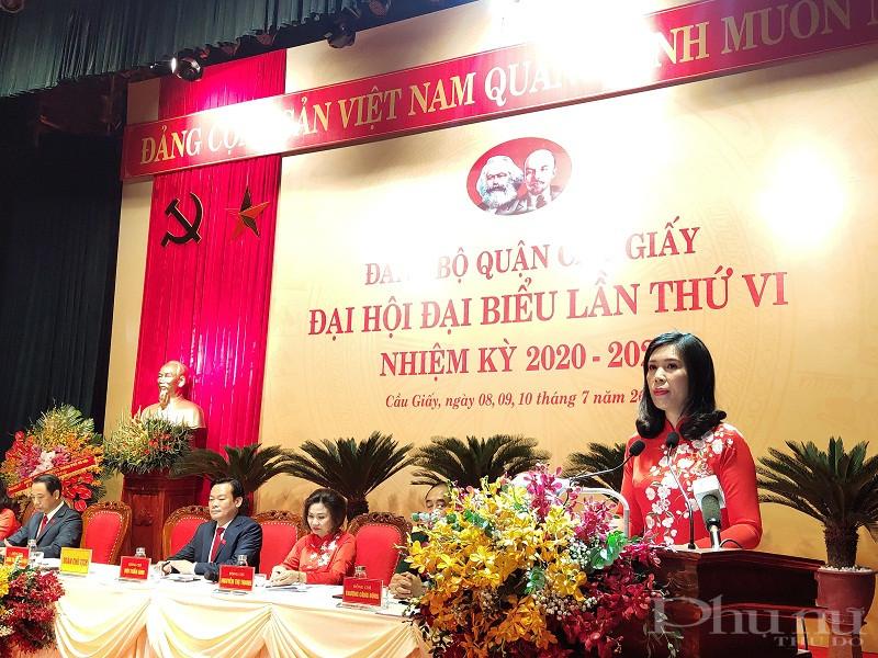 Phát biểu khai mạc đại hội đồng chí Trần Thị Phương Hoa- Bí thư Quận ủy Cầu Giấy nhiệm kỳ 2015-2020 khẳng định, đại hội sẽ phát huy tinh thần dân chủ, trách nhiệm, quyết tâm hoàn thành thắng lợi các nội dung, chương trình đề ra.
