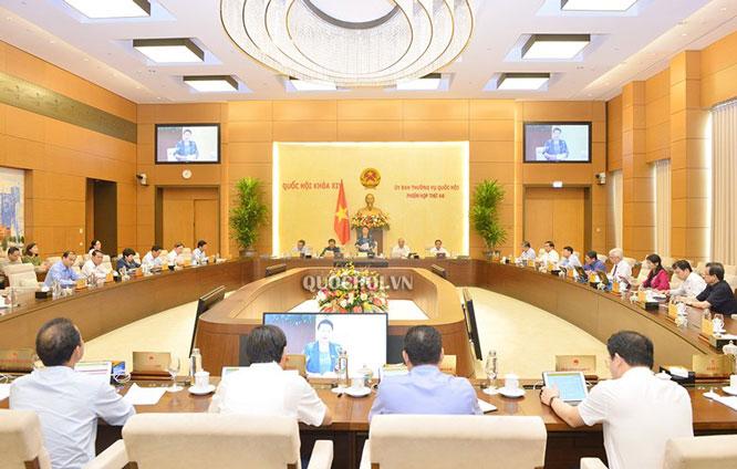 Toàn cảnh khai mạc phiên họp thứ 46 Ủy ban Thường vụ Quốc hội.