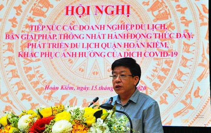Đồng chí Phát biểu kết luận tại hội nghị đồng chí Dương Đức Tuấn- Bí thư quận ủy- Chủ tịch HĐND quận nhấn mạnh một số nhiệm vụ, giải pháp cần làm trong thời gian tới