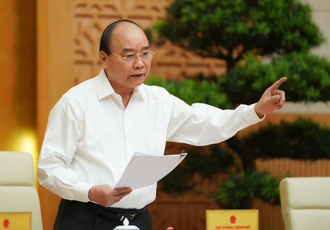 Thủ tướng Nguyễn Xuân Phúc phát biểu tại hội nghị. Ảnh: VGP/Quang Hiếu