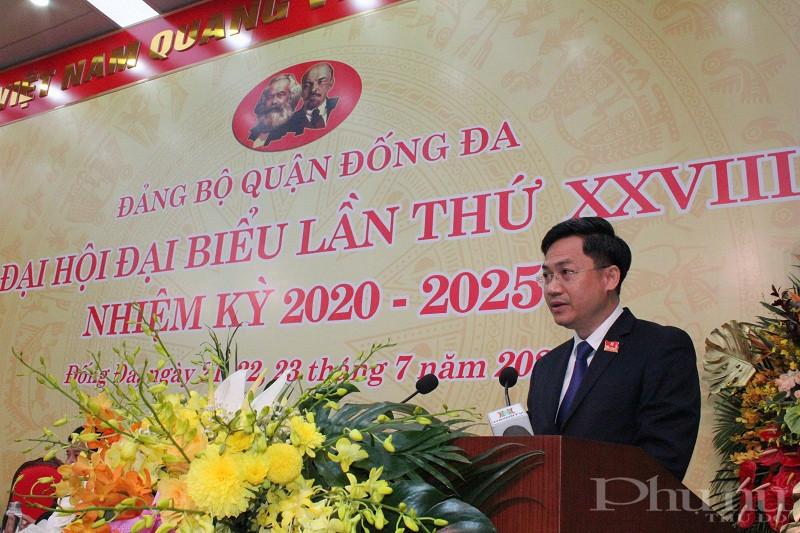 Đống chí  Hà Minh Hải - Bí thư quận ủy Đống Đa phát biểu khai mạc Đại hội
