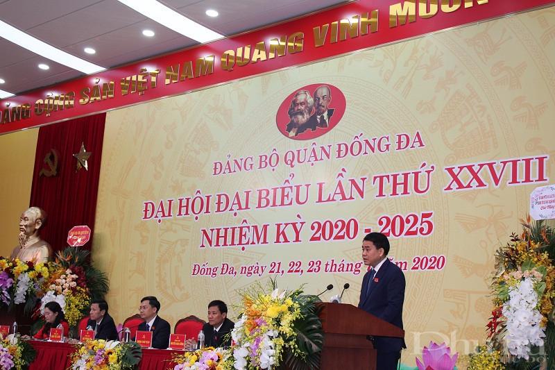 chí Nguyễn Đức Chung, Ủy viên Trung ương Đảng, Phó Bí thư Thành ủy, Chủ tịch UBND thành phố phát biểu chỉ đạo đại hội