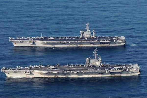 Tàu sân bay USS Ronald Reagan và USS Nimitz của Mỹ tham gia cuộc tuần tra gần đây ở Biển Đông. (Nguồn: Hải quân Mỹ)
