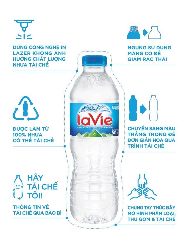 Công ty La Vie thực hiện hàng loạt nỗ lực để biến rác thải nhựa thành tài nguyên, bên cạnh việc tăng cường dùng bao bì có thể tái sử dụng nhiểu lần.