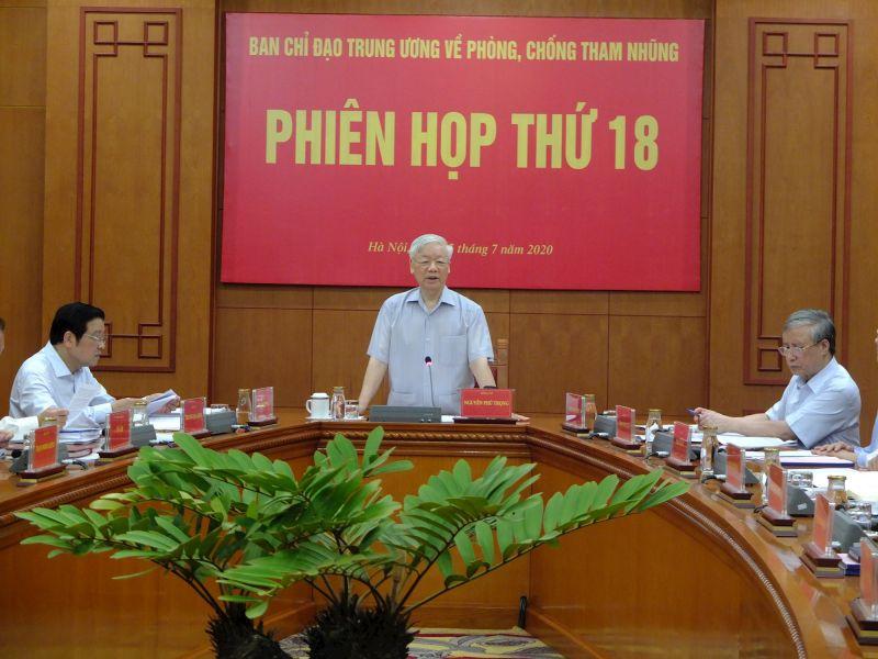 Tổng Bí thư, Chủ tịch nước Nguyễn Phú Trọng chủ trì phiên họp thứ 18 của Ban Chủ đạo Trung ương về phòng, chống tham nhũng, ngày 25-7-2020.