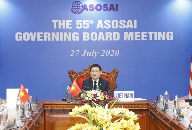Chủ tịch ASOSAI Hồ Đức Phớc, Tổng Kiểm toán nhà nước Việt Nam phát biểu. (Ảnh: Doãn Tấn/TTXVN)