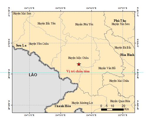 Trận động đất 5,3 độ vừa xảy ra ở Sơn La - Ảnh Google Map
