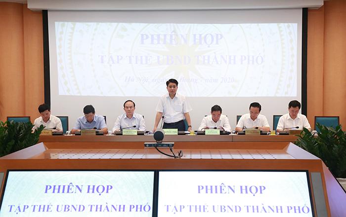 Đồng chí Nguyễn Đức Chung, Chủ tịch UBND Thành phố Hà Nội chủ trì Hội nghị.