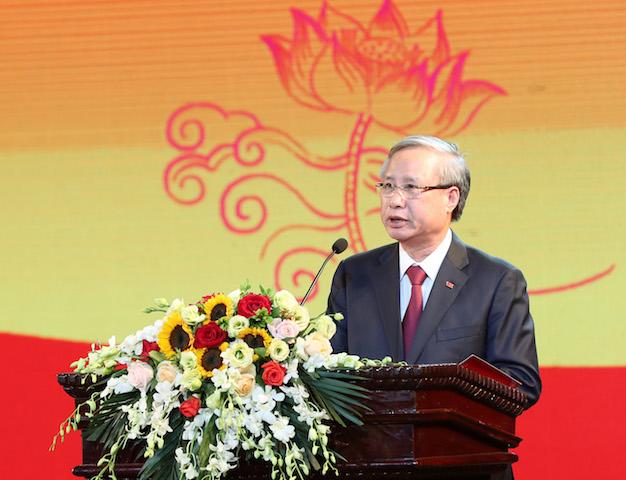 Đồng chí Trần Quốc Vượng, Uỷ viên Bộ Chính trị, Thường trực Ban Bí thư phát biểu tại Hội Nghị