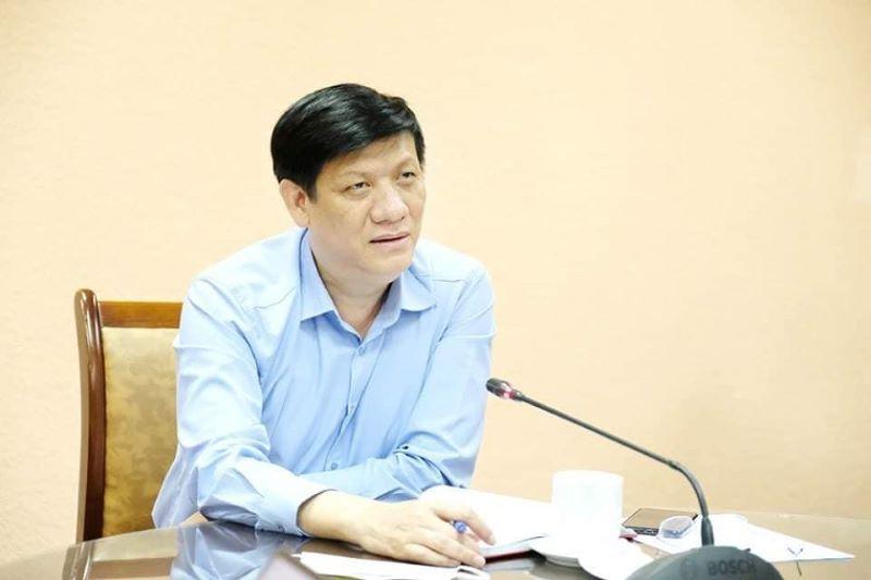 Quyền Bộ trưởng Bộ Y tế phát biểu tại cuộc họp trực tuyến.