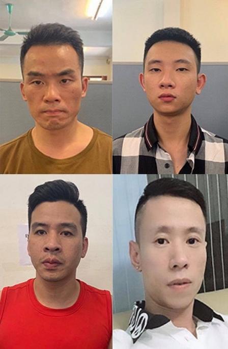 Các đối tượng Thành, Vũ, Cường và Tùng bị bắt giữ