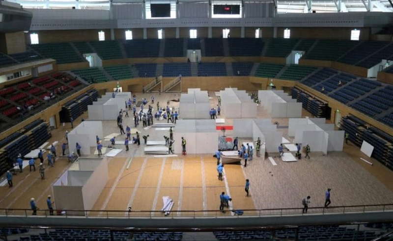 Ông Ngô Trường Thọ (GĐ Cung thể thao Tiên Sơn) cho biết, trưa 1/8 các công tác chuẩn bị cho việc xây dựng Bệnh viện dã chiến đã hoàn thành.