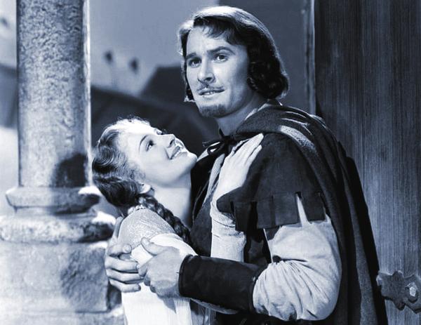 Nét đẹp ngây thơ của Olivia de Havilland khi bà mới 22 tuổi và đóng trong bộ phim The Adventures of Robin Hood bên cạnh tài tử Errol Flynn
