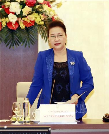 Chủ tịch Quốc hội Nguyễn Thị Kim Ngân, Chủ tịch AIPA 41 phát biểu tại phiên họp. Ảnh: Trọng Đức/TTXVN