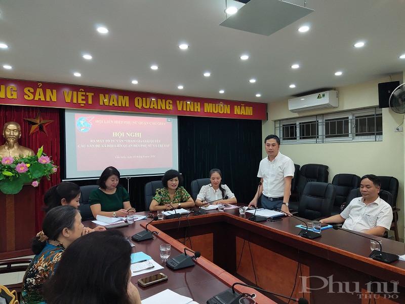 Đồng chí Ngô Ngọc Phương – Trưởng Ban Dân vận quận ủy Cầu Giấy  phát biểu tại hội nghị