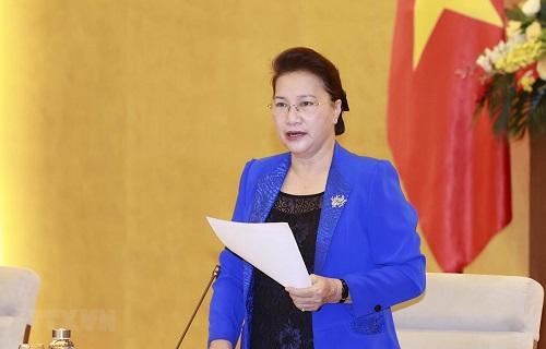 Chủ tịch Quốc hội Nguyễn Thị Kim Ngân phát biểu tại cuộc họp - Ảnh: TTXVN