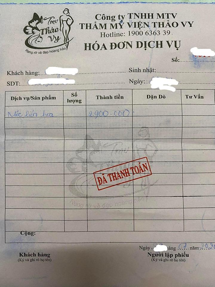 """""""Hóa đơn"""" bán sản phẩm Mộc Liên Hoa của TMV Thảo Vy"""