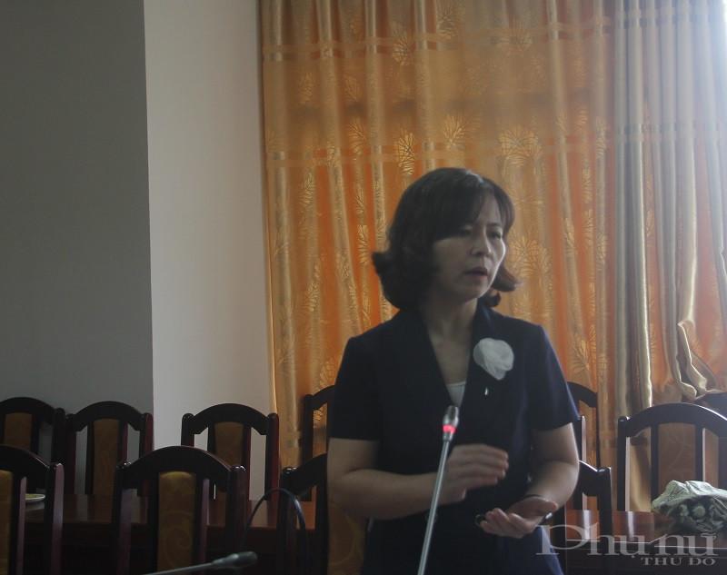 Đồng chí Nguyễn Thị Thanh Tâm - Chủ tịch Hội LHPN huyện Đông Anh giới thiệu  và chia sẻ mô hình sáng tạo trong  hoạt động tập hợp thu hút và hỗ trợ phụ nữ làm việc tại các khu công nghiệp  trên địa bàn