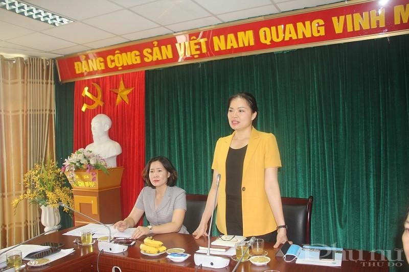 Đồng chí Hà Thị Nga- Bí thư Đảng đoàn, Chủ tịch Hội LHPN Việt Nam phát biểu tại buổi làm việc