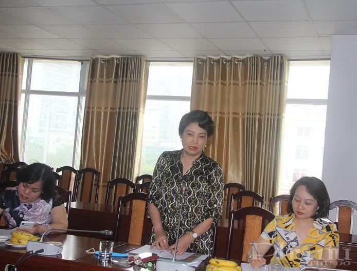 Đồng chí Lê Quỳnh Trang- TBT Báo Phụ nữ Thủ đô phát biểu tại buổi làm việc