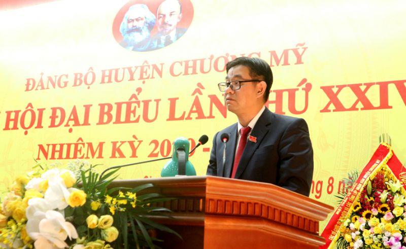 Bí thư Huyện ủy Chương Mỹ Nguyễn Văn Thắng phát biểu